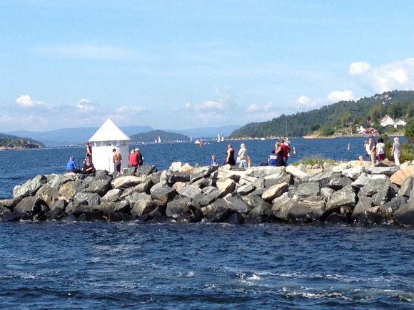 People enjoying the sun in Norway