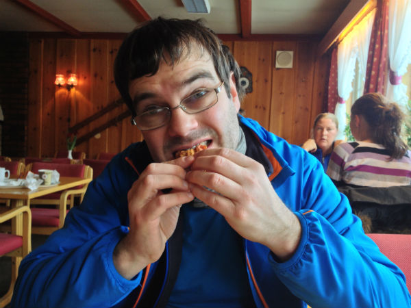Enjoying an after-ski waffle