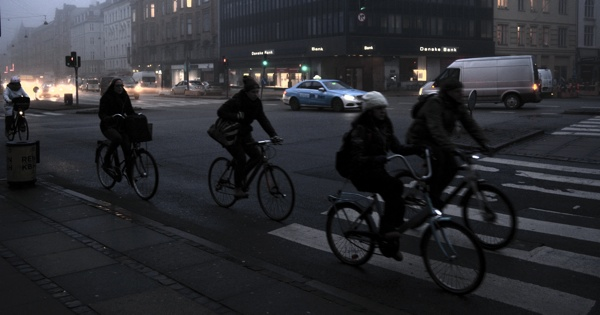 Danish cyclists commuting