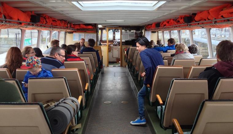 Inside the passenger ferry