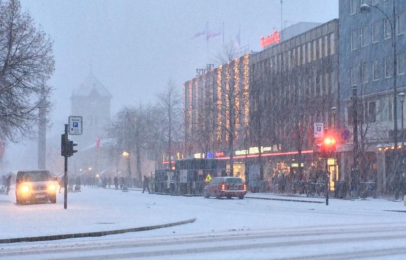 Trondheim in snowstorm