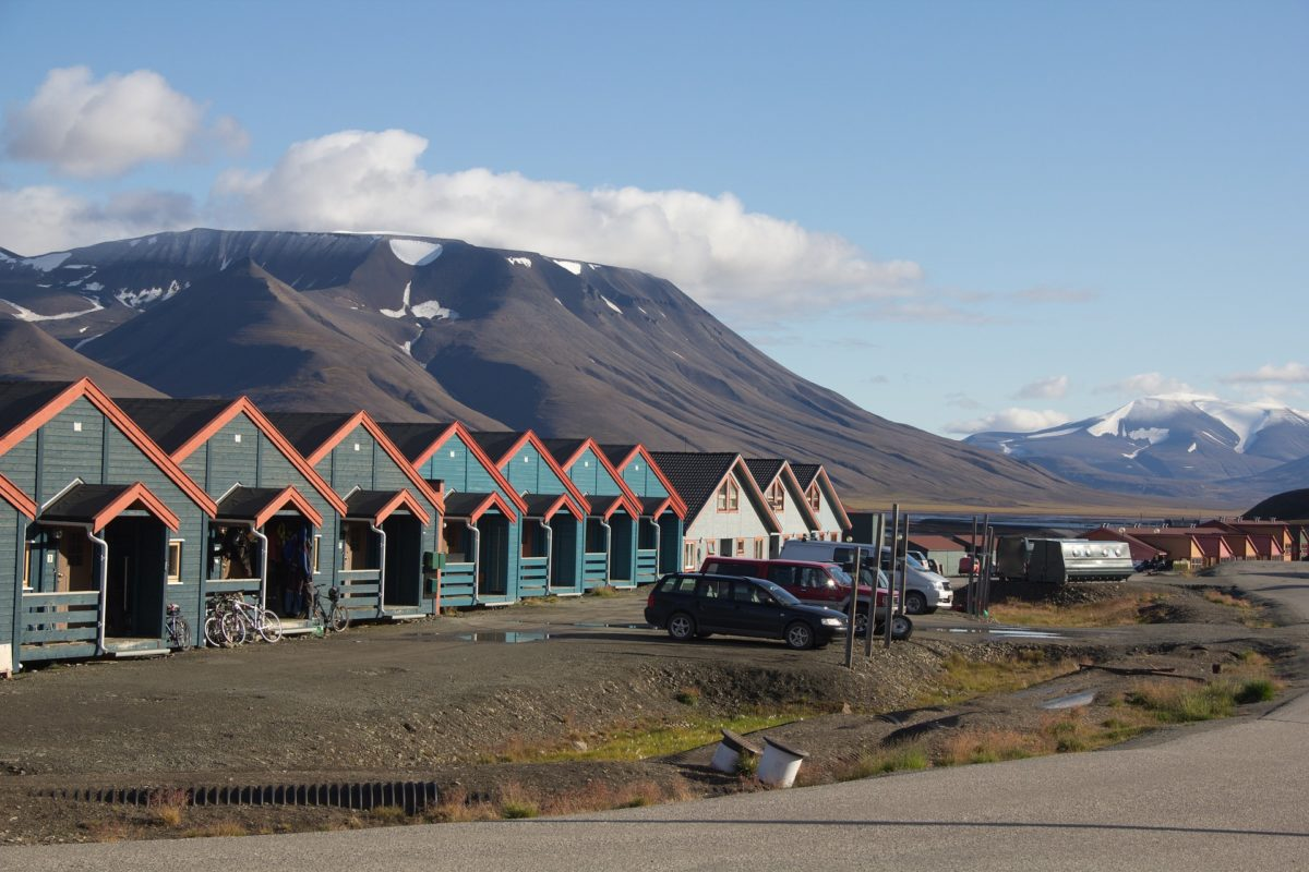 Typical wooden houses in Longyearbyen