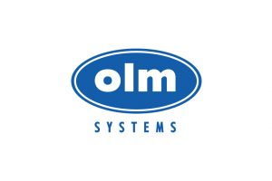 OLM System's blue corporate logo on a white background