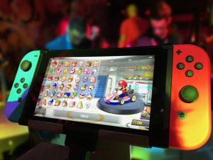 Nintendo Switch Educational - close up of the switch showing the Mario Kart game