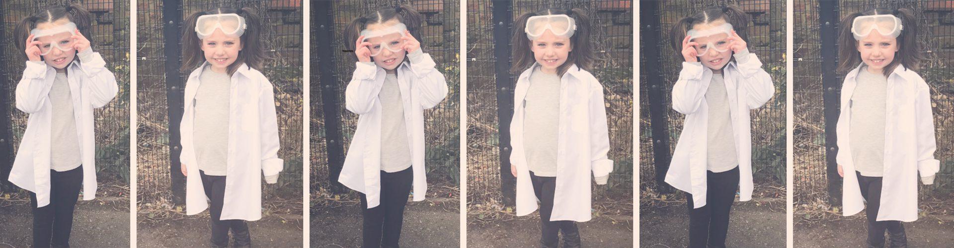 girl dressed as scientist