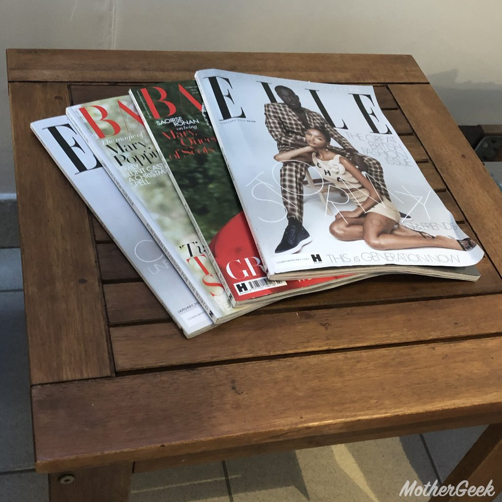 Park Inn by Radisson, Manchester magazines at the poolside