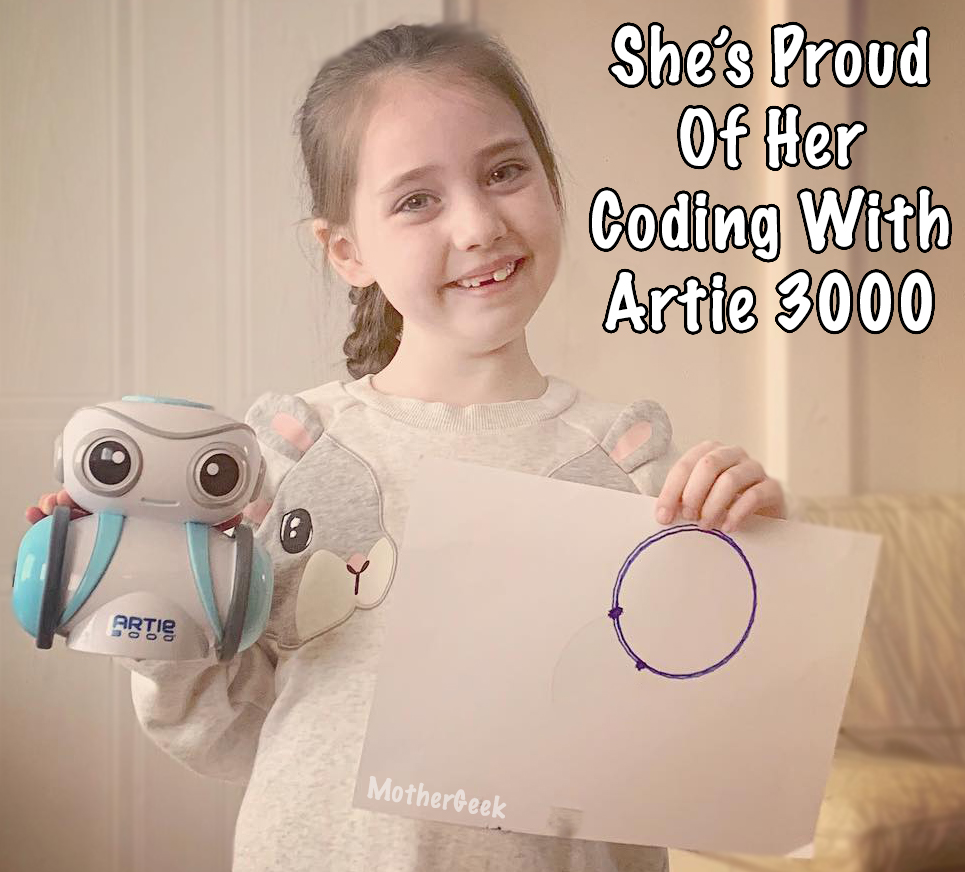 Syd proud of her Artie 3000 Drawing and Coding Robot