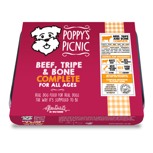 Poppy's Picnic Beef, Tripe And Bone Raw Dog Food