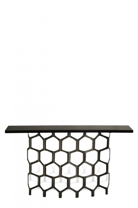 Honeycomb Console Table | Bronzed with Black Lacquer top