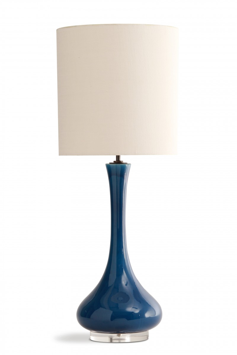 Grace lamp clb29 table lamps table lamp porta romana peacock blue with perspex base with chalk shade aloadofball Choice Image