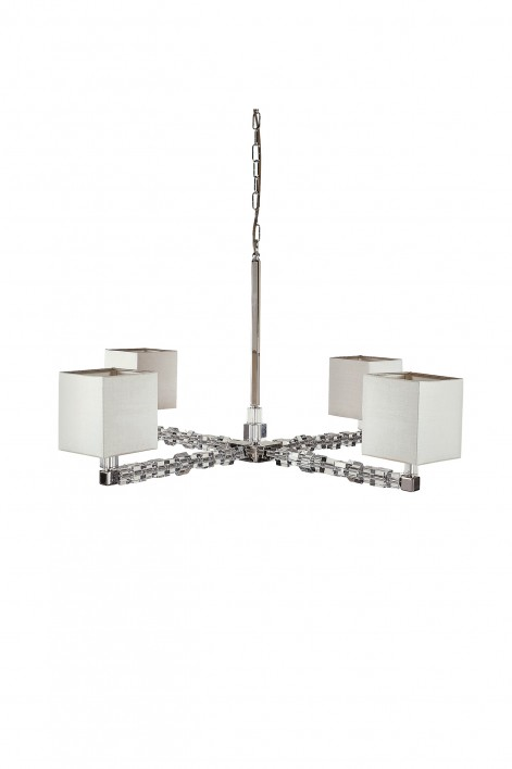 Square Lartigue Chandelier | Clear crystal with Nickel