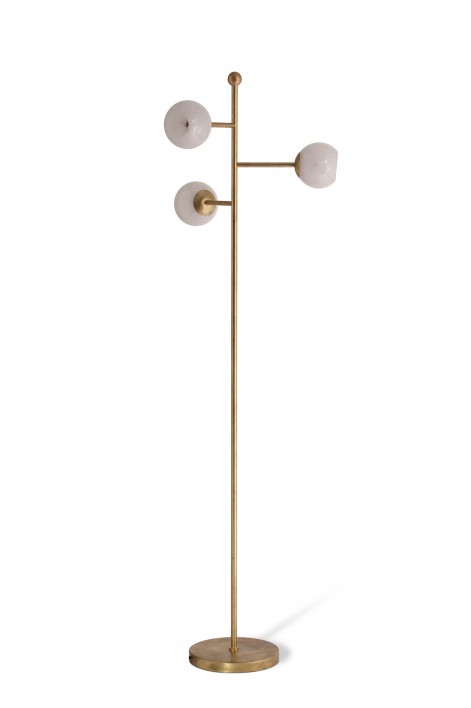 Orbit Floor Lamp | Bright Brass with Milk Glass