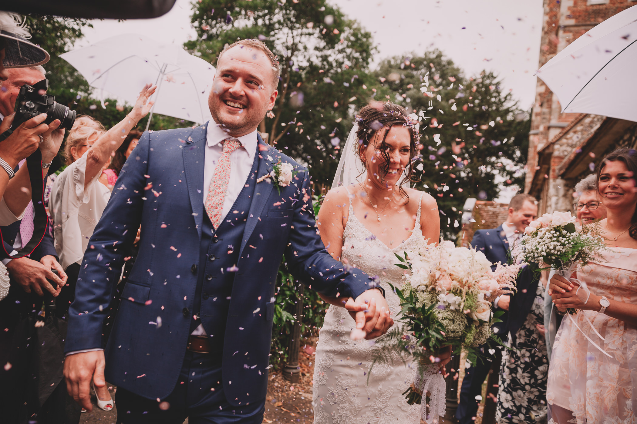 bride and groom at Dorney court wedding photography