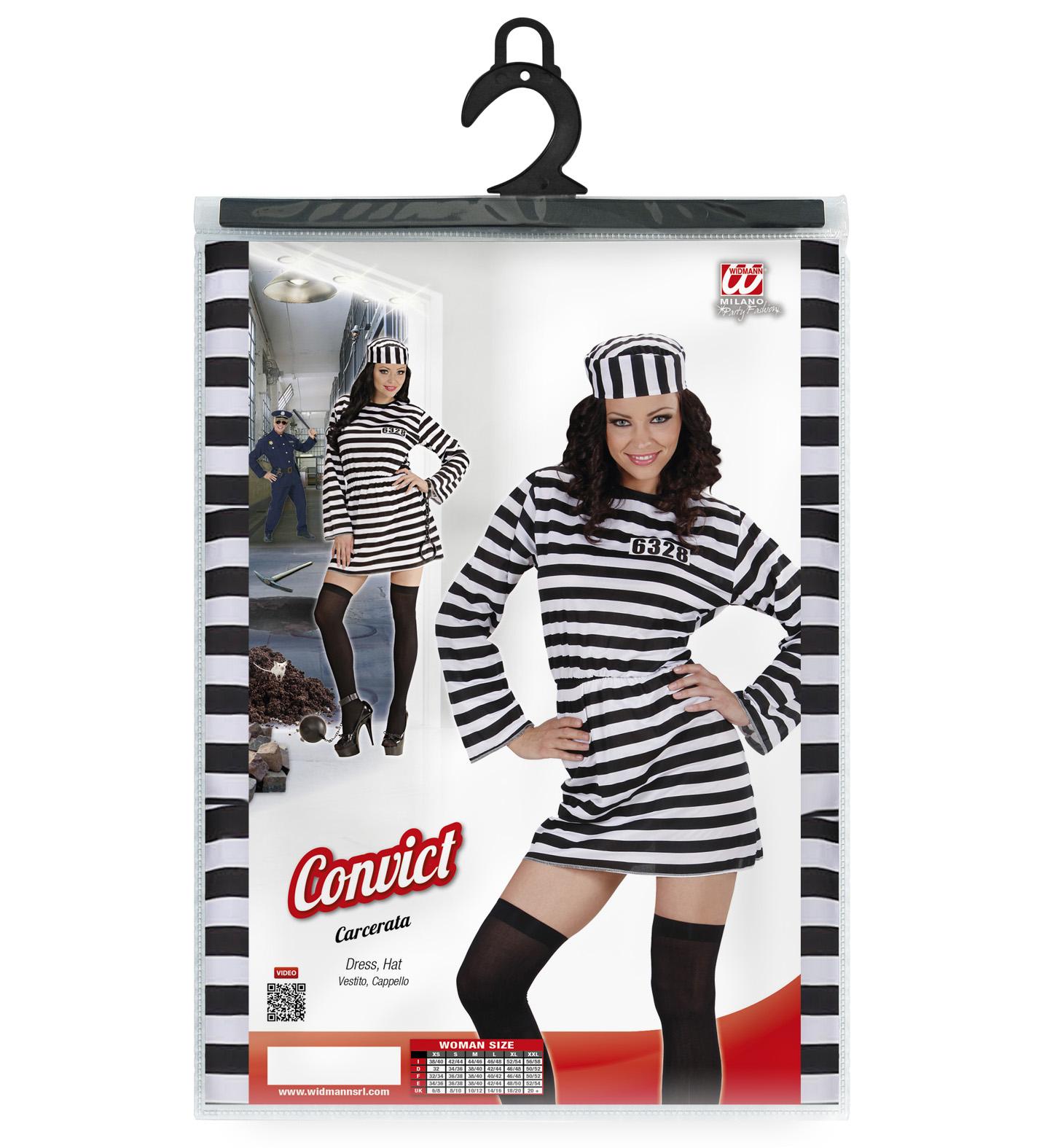 Femmes Prisonnier Costume Lady détenu prisonnier bagnard Death Row Criminal robe fantaisie