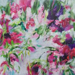 abstract floral on canvas ready to hang by Michelle Carolan