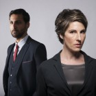 The Guilty - Arsher Ali as DS Vinesh Roy and Tamsin Greig as DCI Maggie Brand