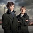 Benedict Cumberbatch as Sherlock Holmes and Martin Freeman as John Watson in London