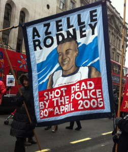 Banner for the Azelle Rodney Campaign for Justice at the 2012 annual United Families and Friends procession to remember those that have died in custody