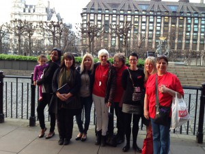 JENGbA campaigners outside Parliament following the launch of the report