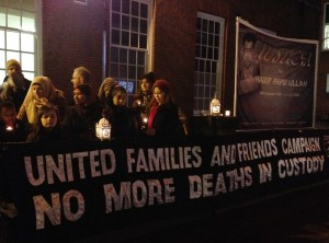 Vigil for Habib 'Paps' Ullah at High Wycombr police station (© IRR News)