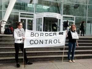 Docs Not Cops activists outside the University College Hospital