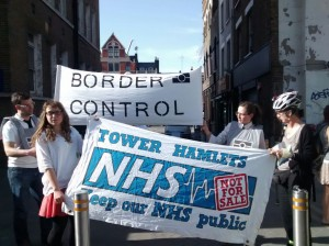 Docs Not Cops and Tower Hamlets Keep Our NHS Public outside the Royal London Hospital
