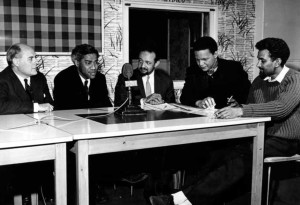 Henry Swanzy, George Lamming, Andrew Salkey, jan Carew and Sam Selvon at the BBC