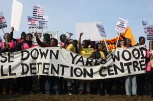 A protest calling for the closure of Yarl's Wood detention centre on 12 March 2016. © Nilüfer Erdem