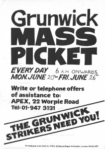 Grunwick's flyer (credit: IRR Black History Collection)