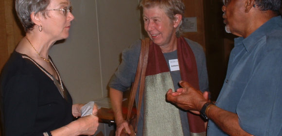 Barbara Harlow (centre) with Hazel Waters and A. Sivanandan at an event to celebrate Race & Class in 2004