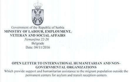 open letter to humanitarian and NGOs from Serbian Government © S.Nandzik