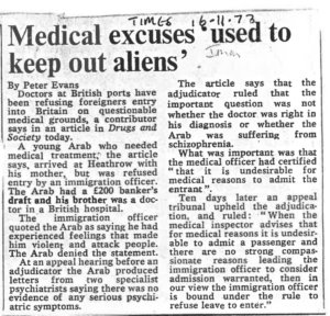 Medical excuses used to keep out aliens Times 16.11.73
