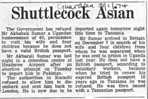 Shuttlecock Asian The Guardian 31.1.74