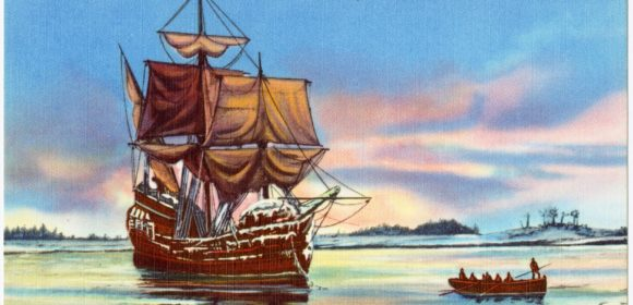 The Mayflower (By Pub. by Smith's Inc., Plymouth, Mass. Tichnor Bros. Inc., Boston, Mass. [Public domain], via Wikimedia Commons)