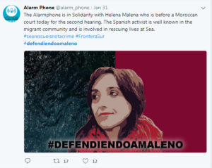 Tweet from Alarmphone in support of Helena Melano