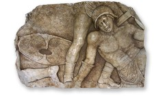 Gladiator depiction hidden by looters at Lucus Feroniae recovered