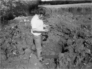 Wanborough Late Dr J L Gower inspecting site damage courtesy Marion Gower