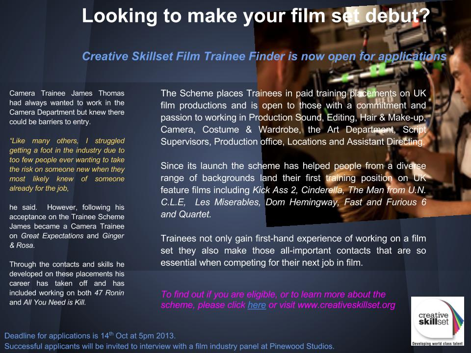 Creative Skillset Film Trainee Finder