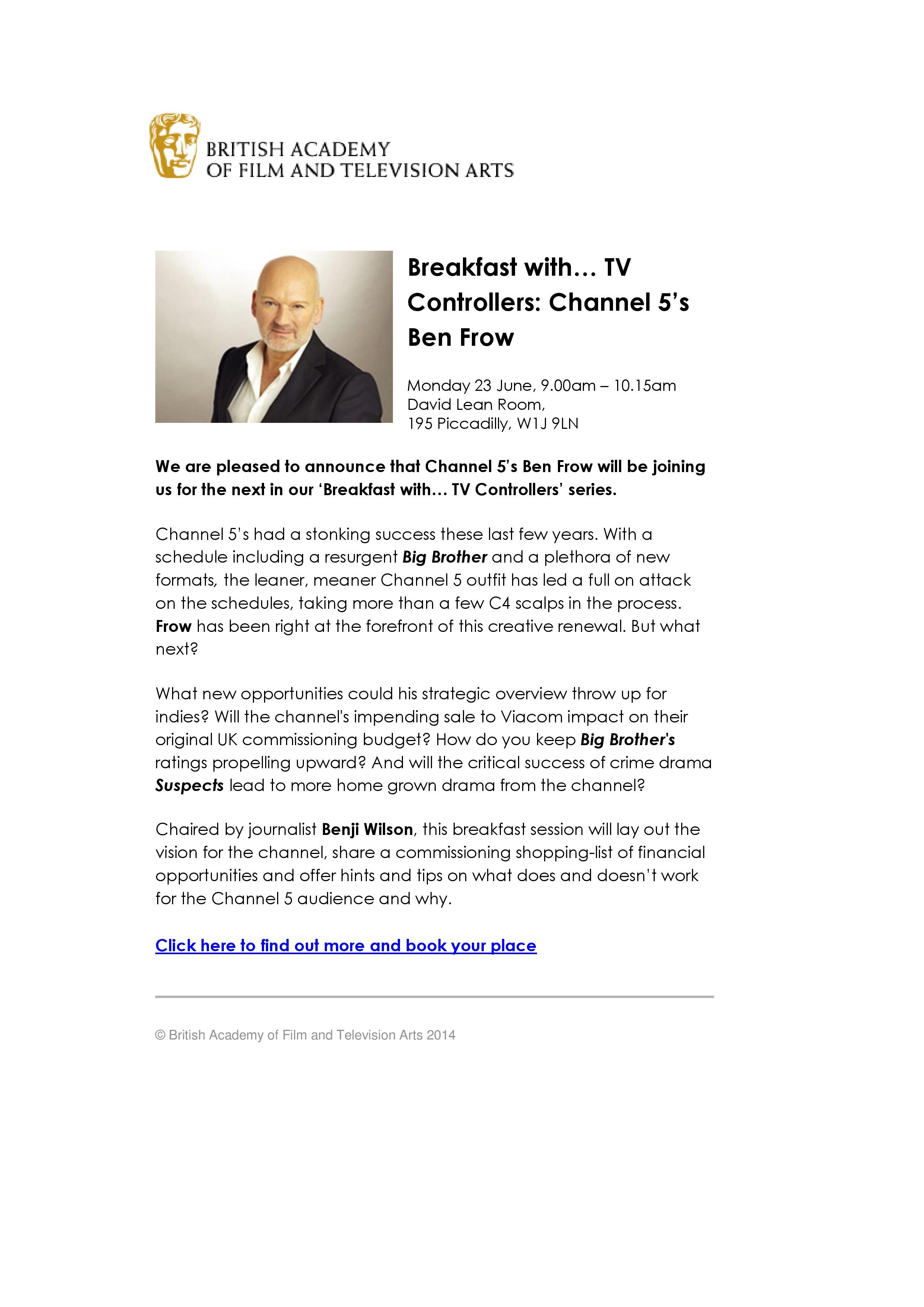 EVENT_BAFTA - Breakfast with Ben Frow C5, June 2014