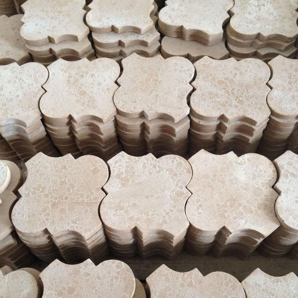 Arabesque hand made tiles drying.