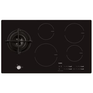 AEG HD955100NB 88cm Mixed Induction And Gas Hob - BLACK