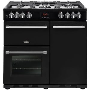 Belling FARMHOUSE 90DFTBLK 4121 90cm Dual Fuel Range Cooker – BLACK