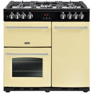 Belling FARMHOUSE 90DFTCRM 4123 90cm Dual Fuel Range Cooker – CREAM