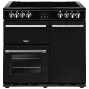 Belling FARMHOUSE 90EBLK 4124 90cm Ceramic Range Cooker - BLACK