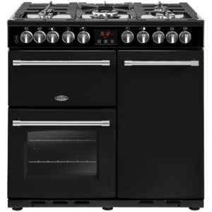 Belling FARMHOUSE DX 90DFTBLK 4157 90cm Dual Fuel Range Cooker – BLACK