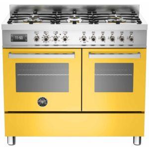 Bertazzoni PRO100-6-MFE-D-GIT 100cm Professional Dual Fuel Range Cooker – YELLOW