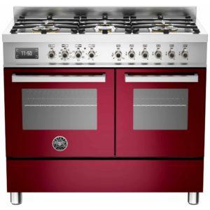 Bertazzoni PRO100-6-MFE-D-VIT 100cm Professional Dual Fuel Range Cooker – BURGUNDY