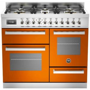 Bertazzoni PRO100-6-MFE-T-ART 100cm Professional XG Dual Fuel Range Cooker – ORANGE