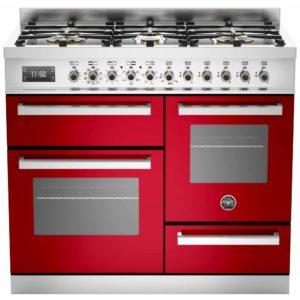 Bertazzoni PRO100-6-MFE-T-ROT 100cm Professional XG Dual Fuel Range Cooker – RED