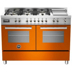 Bertazzoni PRO120-6G-MFE-D-ART 120cm Professional Dual Fuel Range With Griddle – ORANGE